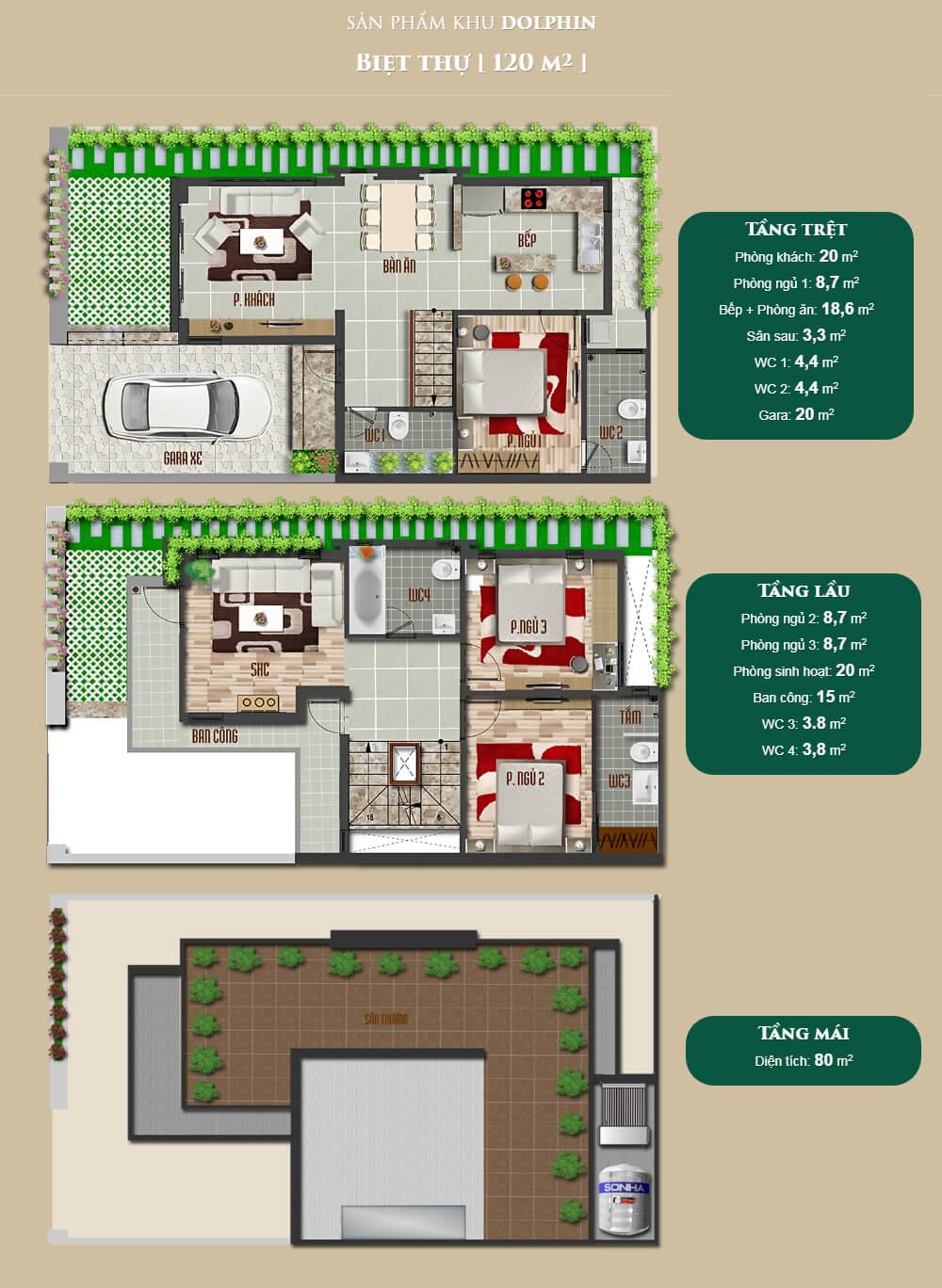 Thiết kế biệt thự tiêu chuẩn tại dự án đô thị Bella Villa