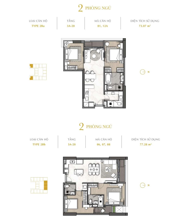 Mặt cắt của phòng ngủ trong căn hộ